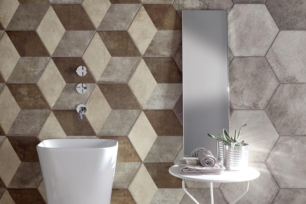 Ceramica piastrelle bagno fioranese heritage exagona texture leef